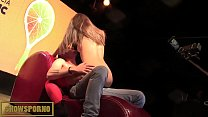 Guy from public and brunette teen pornstar on stage