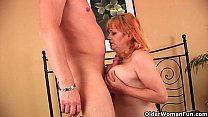Granny with big tits sucks cock and gets fucked hard image