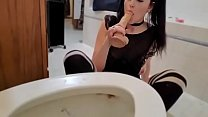 Maid gets turned on while cleaning her masters toilet and has some sick fun