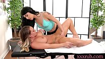 Yoga friends make out on massage table