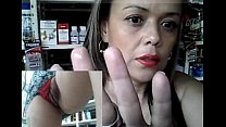 Horny milf working and masturbating at the phar...