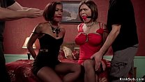 Ebony and brunette are fucked bdsm