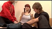 Gal is nice-looking two studs with her tight cu...