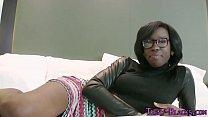 Ebony teen face jizzed