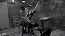 Blindfolded amateur MILF gets pussy teased in BDSM swinger video