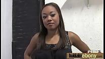 Hot ebony chick in interracial gangbang 22