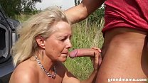 Hot blonde granny seduces and fucks a young stud outdoors Preview