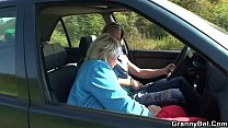 Hitchhiking blonde granny picked up and doggy-fucked roadside Preview