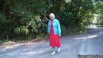 Hitchhiking blonde granny picked up and doggy-f...