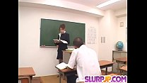 Nami Kimura teacher in heats goes down on a young student