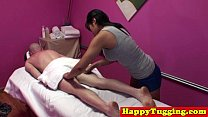 Asian masseuse in handjob threeway video