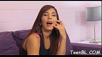 Seductive teen latina gal getting stuffed