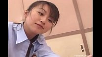 Asian teacher punishing bully with her strapon