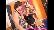 Naughty blonde tranny fucked on the floor