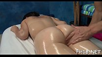 Wicked babe fucks and gives a hot massage! thumb