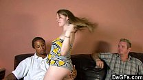 This slut loves to fuck with a black guy in front her boyfriend