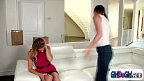 Desperate blonde lady facesitted by hot brunette repo chick
