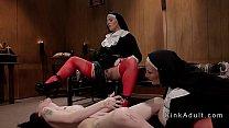 Two dominant nuns anal fucks brunette