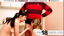 MY18TEENS - Lesbians Pussy Licking and Double Blowjob, Fucking Dick Step-Farher صورة
