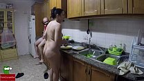 She stimulates the anus and eats his cock on the counter صورة