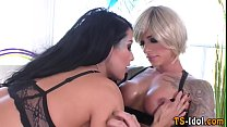 Tgirl cums in hos mouth