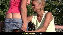 His old mom is licking and toying his GF's pussy pornhub video