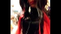 Goth Sissy CD riding a black dildo