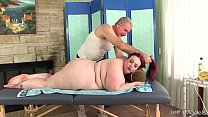 Big boobed BBW Miss Ladycakes gets a sex massage porn image