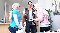 Two Arab Women Shared On A Massive Stiff Cock On Sofa