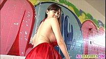 Anri Sugihara has big tits in red dress