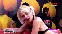 Skinny blondie drinks cum from a plastic tube - German Goo Girls Vorschaubild