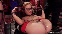 Tied slaves sharing dick at bdsm party thumbnail