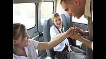 In The Schoolbus-2 cute schoolgirl blow and fuck . HD thumbnail