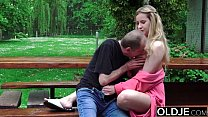 Hot schoolgirl teen fucks old man doggystyle blowjob thumbnail