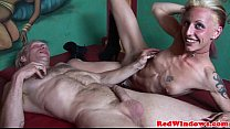 Real Dutch Hooker Sucking Balls While Jerking