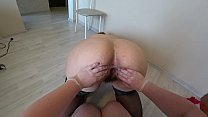 Mature nurse helps a plump lesbian with orgasm problems, fisting in medical gloves. POV. thumbnail