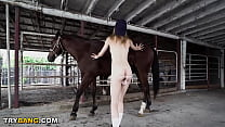 Petite Teen Kristy May Gets Fucked In Horse Stable By Johnny