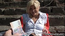 Euro blonde Kitty Rich fucked in public for alot of cash