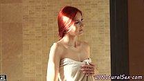 Redhead babe masturbates in the bathroom pornhub video