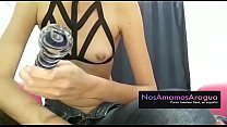 Slut shows her sex toys, before starting the erotic show thumbnail