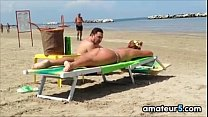 Thick White Woman Tanning At The Beach Thumbnail