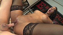 Spicy ebony chick Sophia Fiore with sexy red lingerie wants huge cock