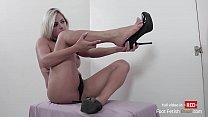 Pornstar Mia Linz sucking big black dick on gloryhole and gives perfect footjob!! Cum on her mouth! Foot fetish action!