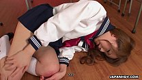 Aroused Asian schoolgirl sucking on the teacher...
