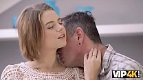 VIP4K. Marina Visconti with natural boobs makes love to old male