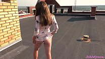 Sexy Student on the Roof Passionate Blowjob and Doggy Fuck - Outdoor