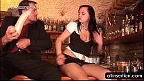 Waitress gets snatch fucked with big dildo on t... Thumbnail