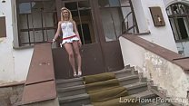 Desirable blonde loves her new white dress video
