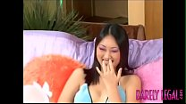 Oriental Evelyn Lin oils up for big dick insertion