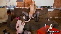 Flirty lesbian hotties are spreading and fist fucking anal holes
